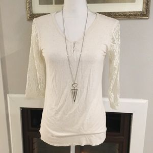 Loveappella Laced Sleeve Top